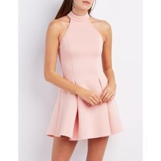 Charlotte Russe Mock Neck Scuba Skater Dress ($26) ❤ liked on Polyvore featuring dresses, blush, charlotte russe dresses, skater skirt, going out dresses, party dresses and skater skirt dress