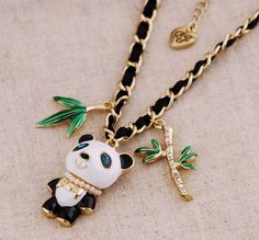 Betsey Johnson** crystal panda Necklace NEW Teen Jewelry, Gold Jewelry, Jewelery, Fashion Jewelry, Unique Jewelry, Panda's Dream, Pink Skull, Cute Panda, All About Fashion