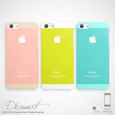 Pastel iPhone 5s case, iPhone 5s case, iPhone 5 cover, lemon yellow baby pink baby blue mint white with apple logo S366 S525 S523 on Etsy, $23.99