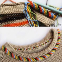 """Одноклассники """"Twisted trim stitch-comment on Knitting Paradise"""", """"Crochet detail or embellishment to knit sweater"""", """"mods: i-cord loop and seco Knitting Stiches, Crochet Stitches, Baby Knitting, Knit Crochet, Knitting Patterns, Crochet Patterns, Knit Edge, Crochet Borders, Knitting Designs"""