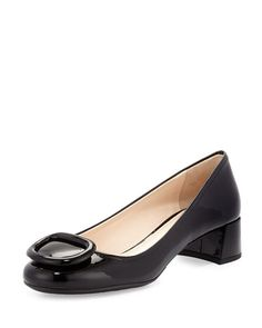 X2RL0 Prada Chunky-Heel Patent Leather Pump, Black (Nero). How funny that I had a pair similar to this (not Prada) in  7th grade, my first heels. Loved those shoes!