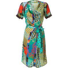 ETRO Emerald Multicolor Belted Dress