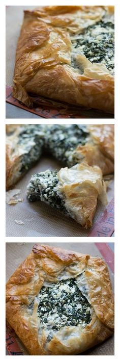 The modern spanakopita! This version still has the buttery, flakey phyllo with a cheese and spinach filling but it takes a fraction of the time to prepare.
