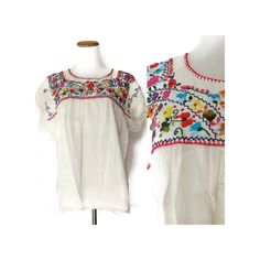 Embroidered Mexican Blouse // Floral Mexican Top // 70s Hippie Blouse // Oaxacan Blouse // Hippie Peasant Blouse // Size Large XL by GoodLuxeVintage on Etsy