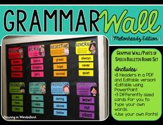You are purchasing a grammar wall/parts of speech bulletin board set. When you download this file, you will find a PDF AND an editable version of the headers and cards.  The PDF file contains the headers as shown in the preview as well as some cards to get your grammar wall started.
