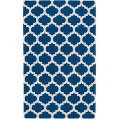 Hand-woven Blinov Blue MoroccanTrellis Flatweave Wool Area Rug | Overstock.com Shopping - The Best Deals on 5x8 - 6x9 Rugs