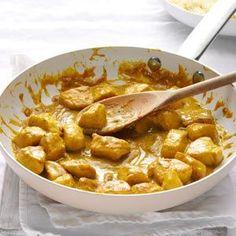 Mango Chutney Chicken Curry.  I made my own mango chutney and this was delish