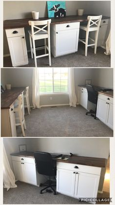 Craft-room office DIY built in desk cabinets. Stock Lowes cabinets u0026 IKEA butcher & DIY Built-in Desk using kitchen cabinets after cutting off toe-kick ...