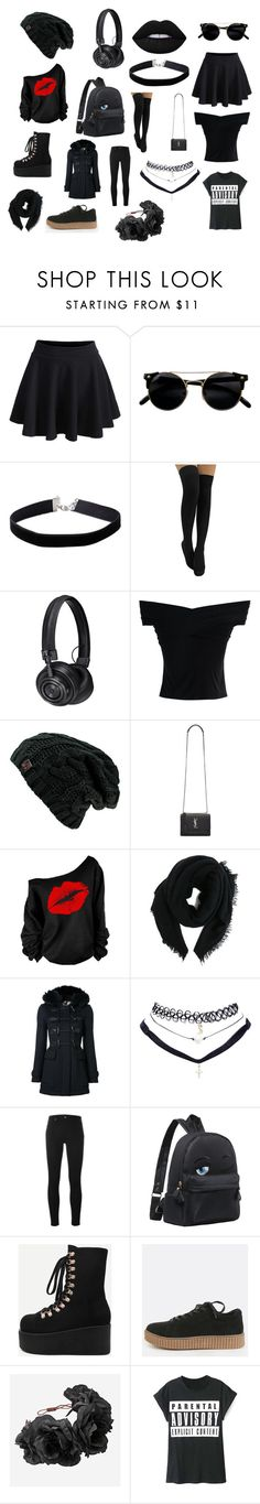 """""""Lady Black"""" by kira-jitka-jilkova on Polyvore featuring WithChic, Miss Selfridge, Master & Dynamic, Chicwish, Yves Saint Laurent, Rick Owens, Burberry, Wet Seal, Calvin Klein Jeans and Rock 'N Rose"""