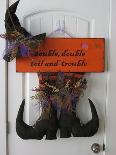 Handmade Halloween Decoration Door Hanger Witch Hat & by RBCrafts, $25.00