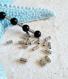 Lot 50 perles métal tubes soleil ethnique argent antique/