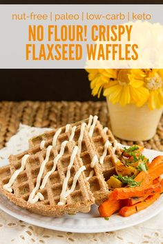** Egg free option in Notes Flourless Crispy Flaxseed Waffles (grain-free, paleo, sugar-free, low-carb, keto + vegan) Crispy Waffle, Keto Waffle, Waffle Recipes, Keto Recipes, Waffle Iron, Food Trucks, Low Carb Breakfast, Breakfast Recipes, Vegetarian Breakfast