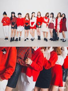 korean fashion similar twin look red bright white black shoes coat casual Korean Fashion Trends, Korean Street Fashion, Korea Fashion, Asian Fashion, Kpop Outfits, Korean Outfits, Cute Outfits, Cute Fashion, Girl Fashion