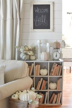 Vintage cubby, old books and farmhouse style fall decor. Beautiful inspiration for fall!