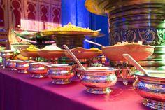 Lavish Indian buffet table at  at Mehndi and wedding reception