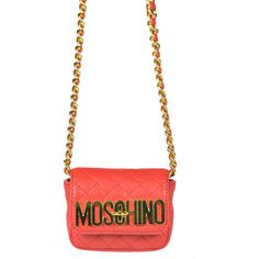 Moschino Leather Mini Shoulder Bag ($325) ❤ liked on Polyvore featuring bags, handbags, shoulder bags, moschino handbag, white leather purse, genuine leather shoulder bag, genuine leather purse y mini leather handbags