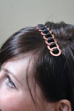 copper and ribbon headband