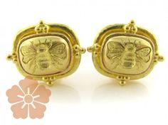 """Elizabeth Locke """"Fat Bee"""" earrings with triads"""