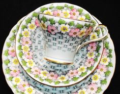 Aynsley...Pink, Blue and Gold Basket Weave Teacup and Saucer Trio...
