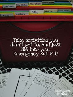 Education to the Core: Create A Simple, Easy, and Free Emergency Sub Plan Kit (scheduled via http://www.tailwindapp.com?utm_source=pinterest&utm_medium=twpin&utm_content=post451963&utm_campaign=scheduler_attribution)