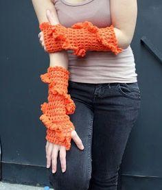 Knit And Wedding Bridal Accessories and Free pattern: Handmade crochet fingerless gloves Halloween orange