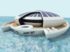 Designer Michele Puzzolante introduced us her latest concept: a Solar Flaoting Resort that would be entirely self-powering thanks to the dye-sensitized solar cells which would be integrated into the vessel's walls.  Convinced that solar energy is the solution to global warming and environment issues. I would so love to go there!