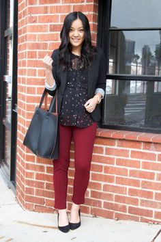 Black Blazer and Maroon Pants Business Casual Outfit Side