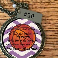 """Basketball necklace from Plunder Designs.  Completely customizable.  Includes 30"""" chain and personaized metal tag with pearl.  $28.00 #basketball #basketballlove #plunderdesign plunderdesign.com/ashleystephens Email ashleysplunderdesign@hotmail.com for more information on customization."""