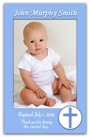 Christening Photo Magnets that are truly personalized for use as a Christening favor or Christening Announcement. Announce the big day in a way that will be remembered for years to come. A blue border is highlighted with a Blue Cross in a circle to make this a classy Baptism Magnet design.  http://www.magnetqueen.com/baptism_boy_cross_order.htm
