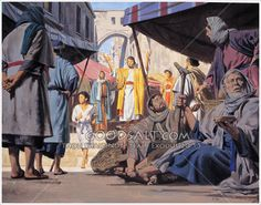 Amos, shepherd and pruner, is preaching to a small group of people gathered in a marketplace in a town in Northern Kingdom of Israel.