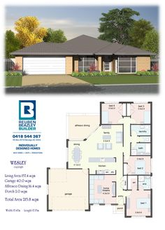 Affordable Quality Homes - Wesley (combine bed 3 & 4 to office) *** 4 Bedroom House Plans, Family House Plans, Small House Plans, House Floor Plans, Br House, Story House, House Plans South Africa, Home Design Plans, New Home Designs