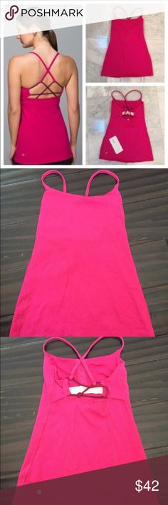 Lululemon Pink Dancing Warrior Strappy Tank Size 4 In superb condition! Provides medium support, Luon fabric is engineered for serious stretch and recovery. Luon fabric is sweat-wicking, four-way stretch and breathable. Customize the fit by adjusting the shoulder straps - slide them out for more support. I also have this style in a floral with neon green straps so please check out all my items! lululemon athletica Tops Tank Tops