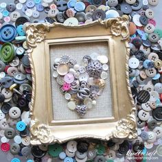 Framed Vintage Button Heart on Burlap DIY!  Make a heart with buttons for the perfect Valentines day decor.