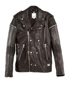 Diesel - Men's Apparel - Male Black shirt, grey leather pants, sneakers