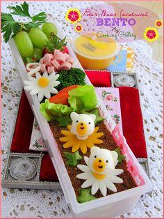 An adorable polar bear spring-themed bento box. :)