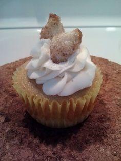 Peach Pie Cupcake- cookie crust, vanilla cinnamon cake, peach filling, vanilla frosting, topped with a sugar cinnamon pie crust