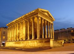 Maison Carree. Nimes, France.  The Maison Carree (1st-century B.C.) is a very well-preserved Roman temple. This building was much beloved by Thomas Jefferson, whose Virginia State Capitol building was inspired by it.