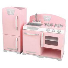 2 Piece Retro Kitchen & Refrigerator Set