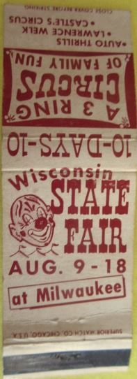 Wisconsin State Fair Milwaukee  #matchbook cover To Design & Order your business' collectible #matches GoTo GetMatches.com