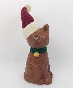 Look at this #zulilyfind! Santa Hat Cat Figurine by Craft Outlet #zulilyfinds
