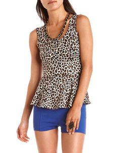 Open-Back Leopard Peplum Top: Charlotte Russe