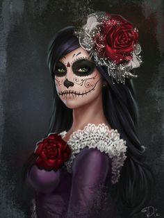 Share the joy 522 Dead Catrina portrait by DianaGalimova on DeviantArt Source by roseskulls Sugar Skull Mädchen, Sugar Skull Artwork, Sugar Skull Makeup, Sugar Skull Tattoos, Day Of The Dead Artwork, Day Of The Dead Mask, Day Of The Dead Skull, Day Of Dead, Los Muertos Tattoo