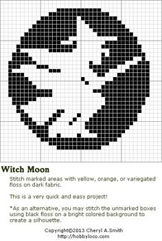 Witch Moon Free Halloween Cross Stitch Pattern
