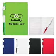 """4"""" x 6"""" Notebook with Pen  - Promotional Notebooks personalized with your custom imprint or logo. #stationery #business #journals #notebooks #company #college #university #marketing #branding #logo #writing #promotionalproducts #logoproducts #custom #branded"""