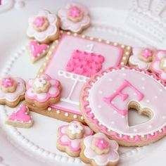 Pink custom cookies from Sugar Dreams Cakes and Things