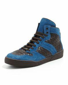 Men\'s Woven High-Top Sneaker, Blue/Brown by Bottega Veneta at Bergdorf Goodman.