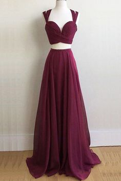 Simple two piece burgundy prom dress, chiffon long prom dress formal even. Winter Formal Dresses, Formal Evening Dresses, Evening Gowns, Elegant Dresses, Dress Formal, Evening Party, Casual Dresses, Sparkly Dresses, Amazing Dresses