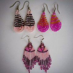 Pink beaded African earrings