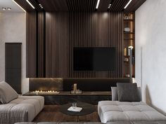 Get onboard with the wood slat wall trend with this luxurious home interior; featuring wood slat dividing walls, wall panel design and wood ceiling ideas. Wall Panel Design, Tv Wall Design, Luxury Interior, Modern Interior, Interior Design, Apartment Interior, Room Interior, Tv Feature Wall, Lounge Bar
