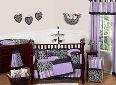PURPLE BLACK AND WHITE BABY BEDDING CRIB SET FOR NEWBORN GIRL ROOM JOJO DESIGNS